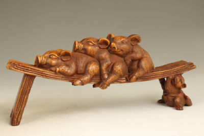 vintage chinese old Boxwood wood Hand Carved Love Pig Statue Figure