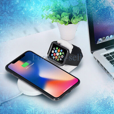 Qi Wireless Charger 2 in 1 Fast Charging Pad For Apple Watch 2 3 4 iPhone 8 X XS