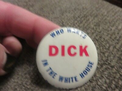 """""""WHO WANTS DICK IN THE WHITE HOUSE"""" Anti-Nixon button Vintage Campaign"""
