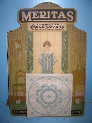Meritas Linenette Table Covers ©1925 Cardboard Table Cloth Display Sign w Woman