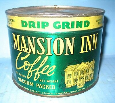 Mansion Inn Coffee Full Sealed Keywind Tin Economy Grocery Stop N Shop Boston MA