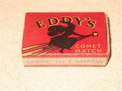 Vintage EDDY'S MATCHBOX LABEL COMET MATCH WITCH ON BROOMSTICK Halloween Full Box