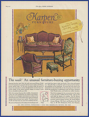 Vintage 1927 KARPEN Furniture Parlor Couch Chairs Art Decor Print Ad 1920's