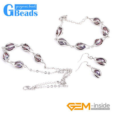 7-8mm Freshwater Pearl Beads White Gold-Plated Earrings Necklace Bracelet Set