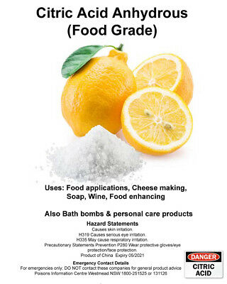 Citric Acid Food Grade Anhydrous 100g, 400g, 1Kg, Bath Bomb, Cheese Making, Soap