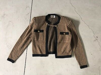 ST. John Brown Open Front Sweater VTG Evening Collection Cardigan Small 2/4 Crop