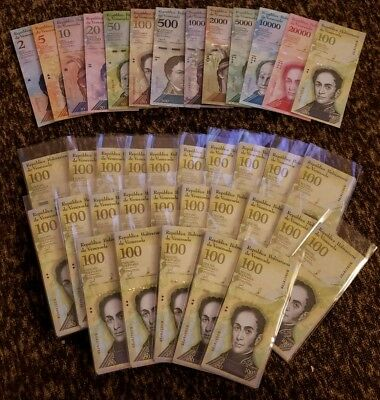 (25x) Venezuela Bolivares NEW UNC Lot 2-100000 (325 Pieces Pcs 25x Full Sets)