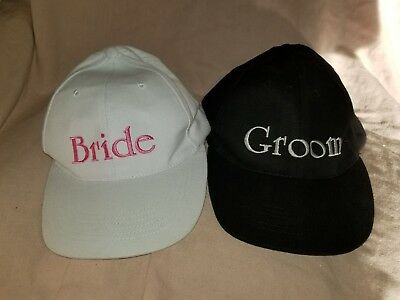 Bride and Groom Hats Baseball Caps Bridal Shower Bachelor Bachelorette Pink Set