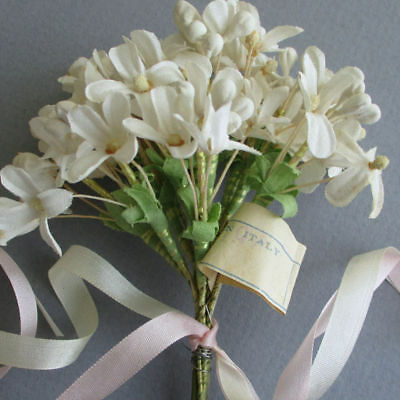 Posy of Vintage MILLINERY Flowers 12 Stems CREAM Linen LILACS Flowers + Buds