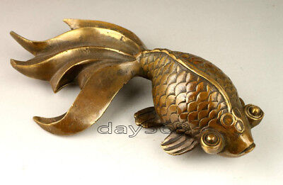 Chinese Old Collectable Handwork  Copper Lovely Goldfish Statue