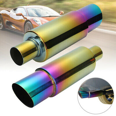 Universal Stainless Steel Racing Exhaust Muffler Rear Tail Pipe Trim Straight UK