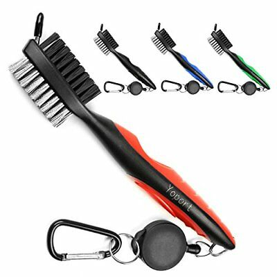 Dual Bristles Golf Club Brush Cleaner Ball Cleaning Clip Groove w/ Spike 3-pack