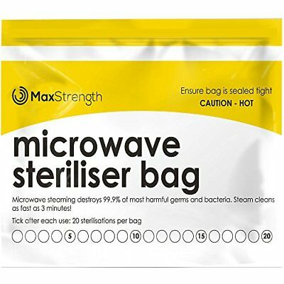 Premium Microwave Sterilizer Bags 20pcs by Max Strength, Large & Durable Steam &