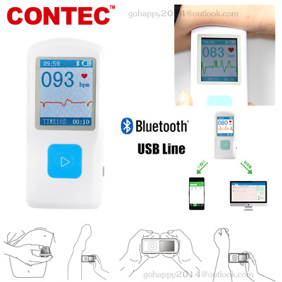 Portable Handheld Single Channel ECG / EKG Machine Bluetooth Heartbeat Rate PM10