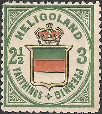 MH 1876 HELIGOLAND 2.1/2 f  3 pf STAMP British Empire COLONY Coat of Arms