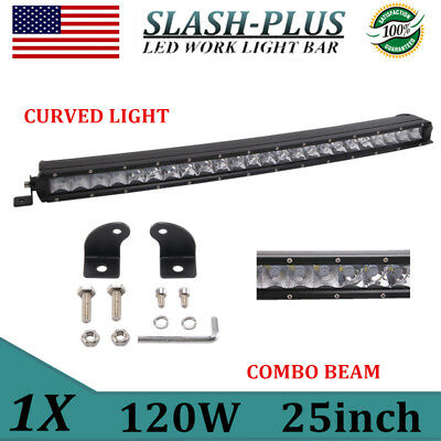 Curved 25inch 120W LED Work Light Bar Spot Flood Combo Single Row Offroad VS 24""