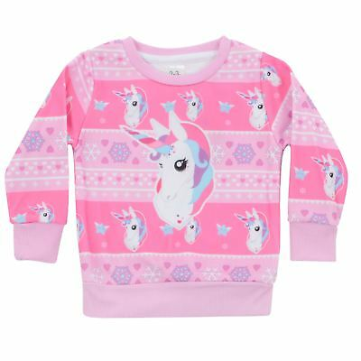 Girls Novelty Pink Unicorn Long Sleeved Christmas Jumper With All Over Pattern