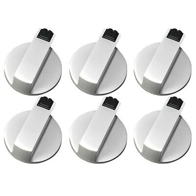 Stoves Cooker Knobs,Oven Knob 6pcs,Zinc alloy 6mm Universal Silver Gas Stov L7W8