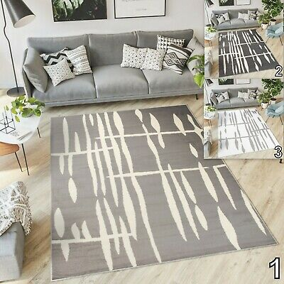 New Small Extra Large Modern Rug Stripes Contemporary Design Soft Pile Area Rugs