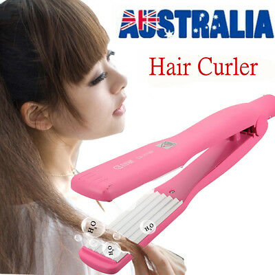 Pink Hair Crimper Curler Iron Rollers Curling Anion Wave Wet Dry Wand Styling AU