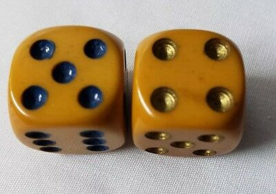 Pair Of Vintage Butterscotch Bakelite Dice