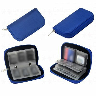 BLUE Memory Card Wallet - Micro SD SDHC CF SM - Protective Storage Holder Case