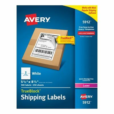 Avery Permanent Shipping Labels With TrueBlock Technology, 5912, White, 500-Pk