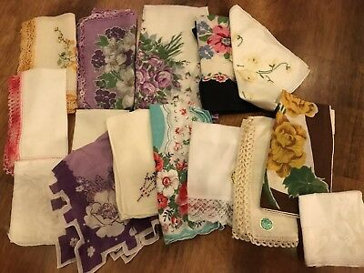 Lot Of 15 Beautiful Vintage Handkerchiefs Floral Embroidered Crochet Lace Edges