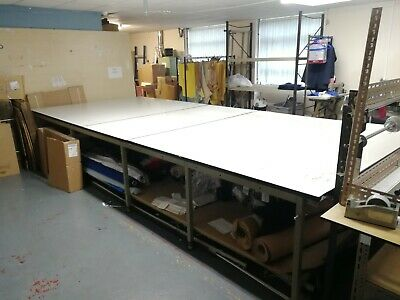 Very large, heavy duty, fabric cutting table (price includes VAT)