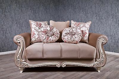 Baroque Sofa Couch Cappuccino Antique Solid Vintage Bed Box with Sleep Function