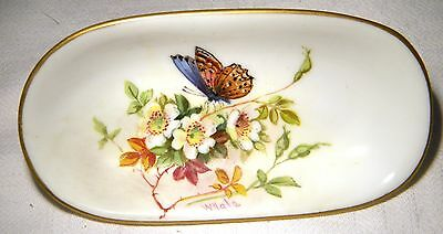Art Nouveau Royal Worcester Handpainted Butterfly Pin Dish William Hale