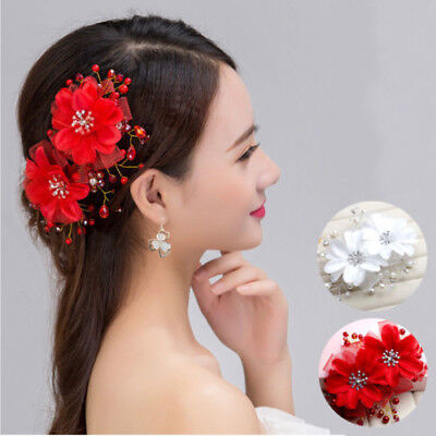 Red Floral Crystal Wedding Beads Bridal hair Accessories piece Tiara Head band