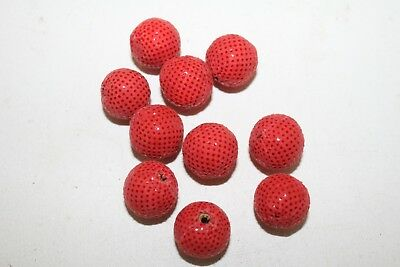 10 Leather beads,   Red medium size, (17 mm),   1087