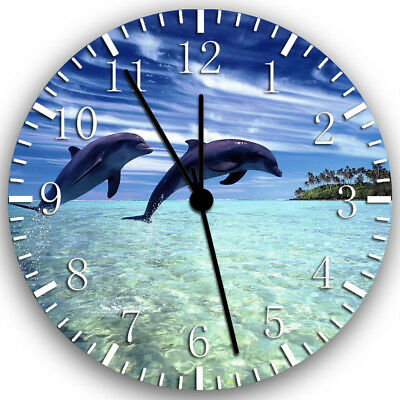 Cute Dolphin Frameless Borderless Wall Clock Nice For Gifts or Decor Z71