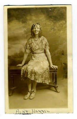 Aunt Hattie Real Photo Postcard Wonderful Dress Fantastic Hair Style