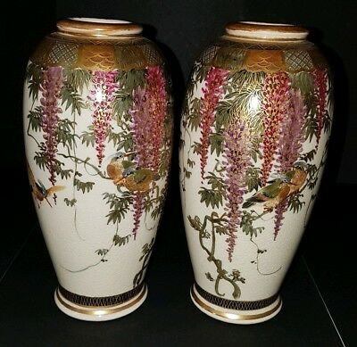 Pair of Antique Japanese Oviform Satsuma Vases with Bird Decoration Late 19th