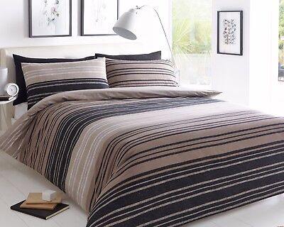 Duvet Cover sets Textured Stripe Pattern Brown Single Double & King sizes