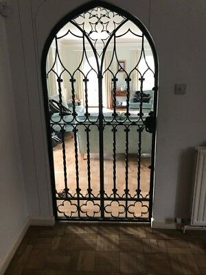 Large 100 year old wrought iron internal door and frame with working lock