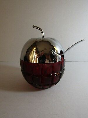 Cut Red Glass with Metal Cover Apple Shaped Jam or Jelly Jar