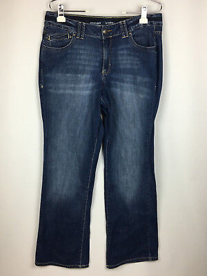 Lane Bryant Womens sz 18 Boot Cut Dark Wash Distressed Stretch Denim Blue Jeans