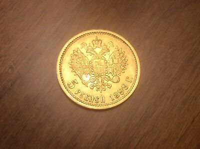 1899 Russian 5 Roubles Gold Coin @@ Must see @@ lot X12