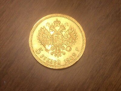 1902 Russian 5 Roubles Gold Coin @@ Must see @@ lot X13