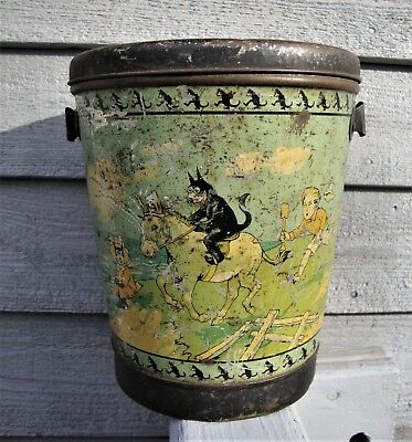 E.T. Gee & Sons Liverpool England Felix the Cat Toffee Tin Litho Sand Pail + Lid