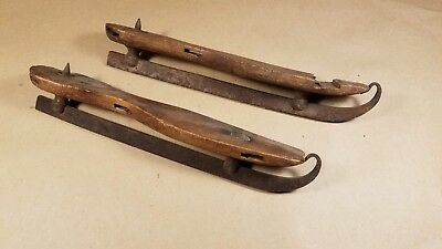 Vintage Antique Primitive Wood Ice Skates Hand Forged Blades