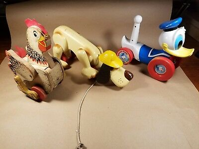 3 Vintage Antique Pull Toys Fisher Price Chicken, Dog, and Disney Donald Duck