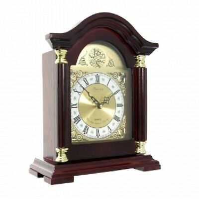 NEW*Bedford*REDWOOD OAK Wooden MANTEL MANTLE Shelf Desk CLOCK*with 4 CHIME MODES