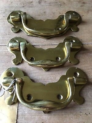 Large Size Set Drawer Pull Handles Antique Brass Reclaimed Vintage NOS