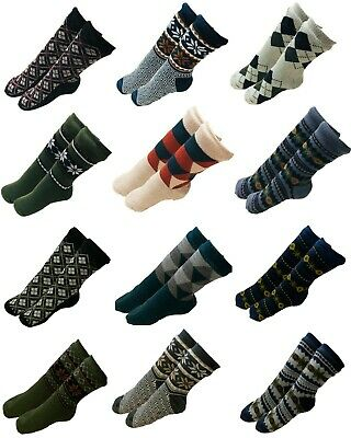 Mens Christmas Thick Knit Sherpa Fleece Lined Thermal Fuzzy Slipper Socks 10-13