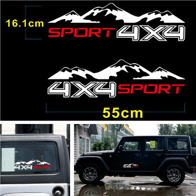 DIY 2Pcs 4x4 Sport Mountain Waterproof Vinyl Decal Sticker For Off Road Car SUV