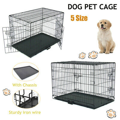 """24""""/48"""" 2 Doors Pet Folding Suitcase Dog w/Divider Cat Crate Cage Kennel w/Tray"""